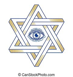 dimensional, ojo, creado, geometría, ver, logotipo, dos, estrella, imposible, formas, símbolo, judío, diseño, dios, hexagonal, emblema, todos, religión, vector, element., triángulos, o, sagrado