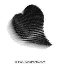 Dimensional pixel image of black bent heart