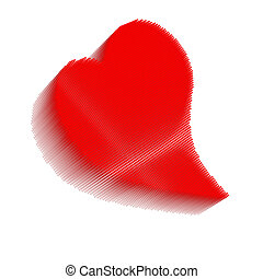 Dimensional pixel image of red bent heart