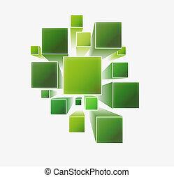 dimensional, quadrados, três