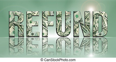 Dimensional Reflective Word Refund on Luminescent Green Background