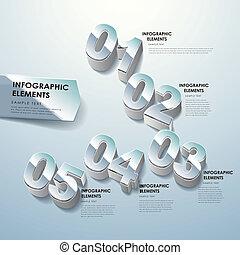 dimensional, resumen, numere tres, infographics