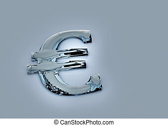 Dimensional sign of the European euro. 3D render.