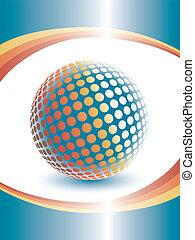 dimensional, tres, colorido, globe.