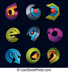 Dimensional vector app buttons. Collection of arrows, direction icons and different business corporate graphic symbols.