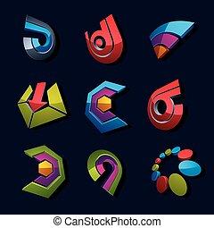 dimensional, vektor, app, buttons., sammlung, von, pfeile, richtung, heiligenbilder, und, verschieden, geschaeftswelt, korporativ, grafik, symbols.