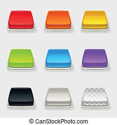 dimensionale, bottone, quadrato, set