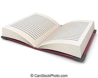 dimensionale, libro, aperto, tre