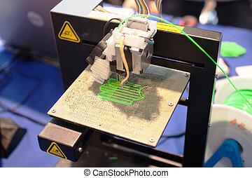 dimensionale, macchina, stampa, tre