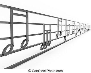 dimensionale, note, tre, musicale