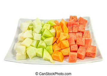 dimensionar, melones, cubo, ligamaza