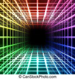 dimensionell, galler, utrymme