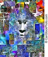 dimensionell, måla abstrahera, människa vett