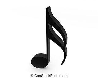dimensionell, noteringen, tre, musikalisk
