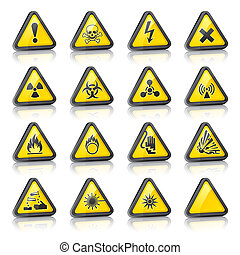 dimensionell, sätta, tre, varning