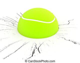 dimensionell, tennis, tre, boll