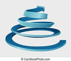 dimensionell, tre, spiral