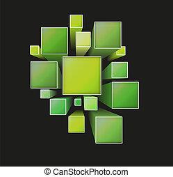 dimensionnel, carrés, trois