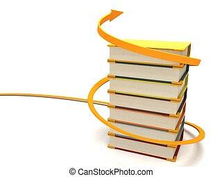 dimensionnel, emballé, livres, trois, flèche