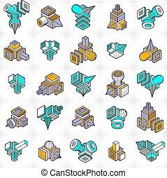 dimensionnel, ensemble, designs., résumé, trois, formes, vecteur
