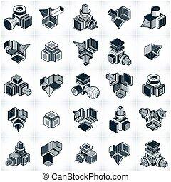 dimensionnel, ensemble, designs., résumé, trois, formes, ...