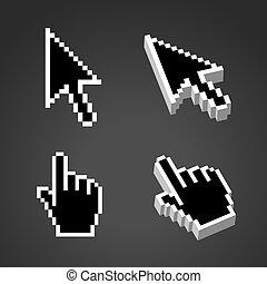 dimensionnel, ensemble, trois, deux, curseur, forme, noir, ou