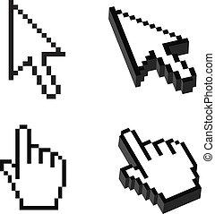 dimensionnel, ensemble, trois, deux, curseur, forme, ou