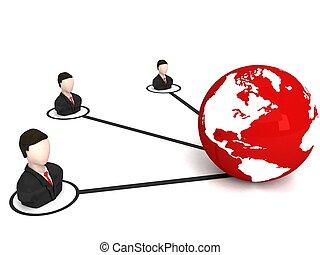 dimensionnel, globe, trois, professionnels