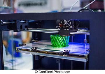 dimensionnel, imprimante, trois, plastique, machine, impression, modèle, automatique, 3d