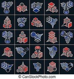dimensionnel, isométrique, ensemble, collection., résumé, vectors, formes