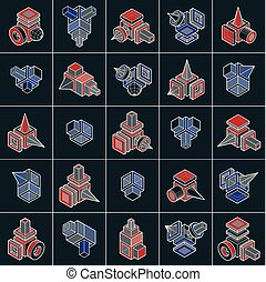 dimensionnel, isométrique, ensemble, collection., résumé, ...