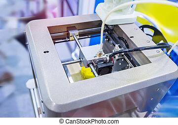 dimensionnel, machine, trois, impression, printer.