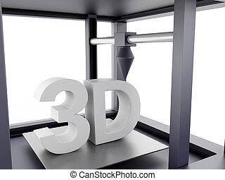 dimensionnel, printer., trois, 3d