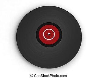 dimensionnel, vendange, vinyle, trois, enregistrement