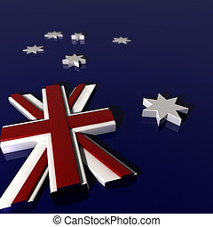 dimentional, extruded, tres, nación, bandera, australiano