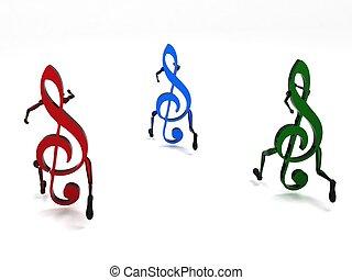 dimenzionális, hangjegy, három, zenés