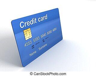 dimenzionális, hitel, három, kártya