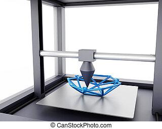 dimenzionális, printer., három, 3