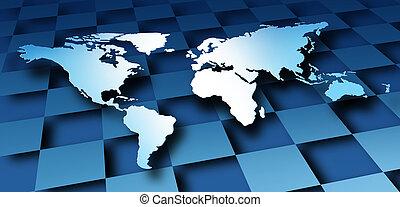 dimenzionális, világ, tervezés, térkép