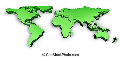dimenzionális, zöld, 3, hullámos mezőség, térkép