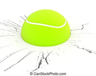 dimenzionální, tenis, tři, koule