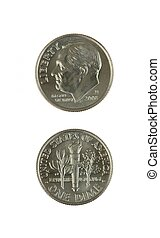 Dimes - A stock photo of some dimes set against a white...