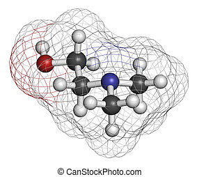 Dimethylaminoethanol (dimethylethanolamine, DMEA, DMAE) molecule. May have beneficial effects on health, including lifespan increase. Atoms are represented as spheres with conventional color coding: hydrogen (white), carbon (grey), oxygen (red), nitrogen (blue).