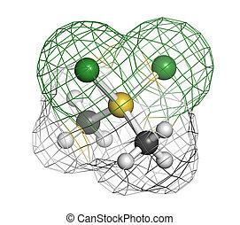 Dimethyldichlorosilane molecule, the precursor of...