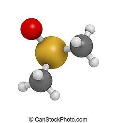 dimethylsulfoxide (DMSO) solvent molecule, chemical...