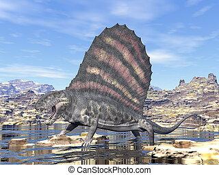 dimetrodon, in, der, wüste, -, 3d, render