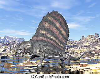 Dimetrodon in the desert - 3D render