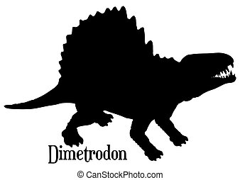 Dimetrodon Silhouette for Heat Transfer, Vinyl Sublimation with White Background and Clipping Path