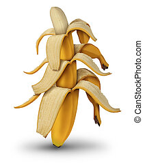 Diminishing returns and lower investment value by the decreasing in size of banana fruit with open peel as a business concept of financial lower profits on a white background.