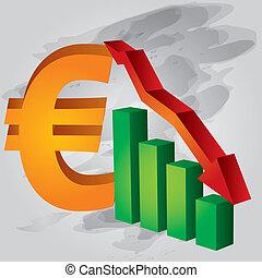 diminuição, euro